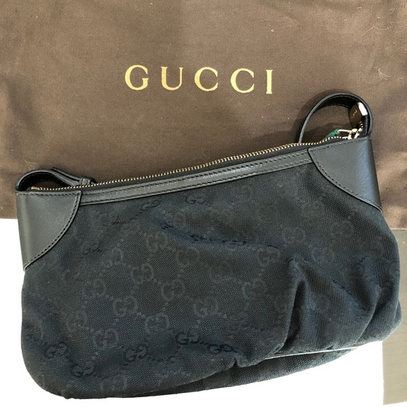 b0e60dc7d0b98b Gucci Handbags - GUCCI CANVAS & LEATHER TRIM SHOULDER BAG